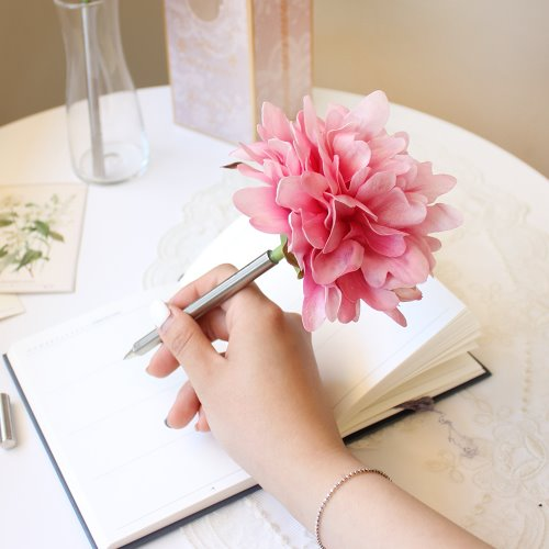 pink graceful peony flower pen